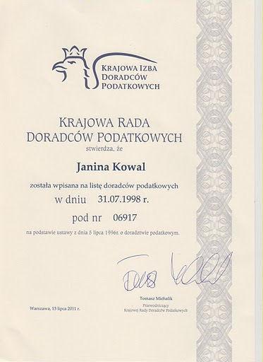 Janina Kowal - Certyfikat doradcy podatkowego